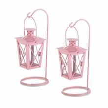 Hanging Railroad Lanterns Pair - Pink-Set of two iron hanging railroad candle lanterns in a soft pink color. Cute for baby shower decorations! Pink Lanterns, Hanging Candle Lanterns, Small Lanterns, Lantern Candle Holders, Candle Lighting, Outdoor Lighting, Lantern Set, Lantern Centerpieces, Wedding Centerpieces