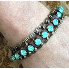 Sea foam Green Swarovski Rhinestone Crystal Cup Chain Woven Bracelet - Brown Suede Lace - Antique Brass Double Link Chain