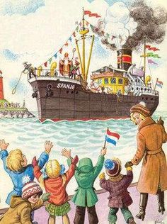 Sinterklaas arriving Santa Claus arriving by boat Holland