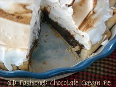 Old Fashioned Chocolate Pie  ~  It's rich and velvety, sweet and thick just like an old fashioned chocolate pie should be