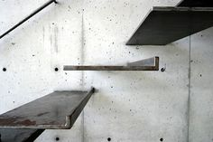 Cantilevered steel stairs.