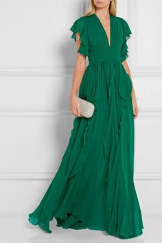 Emerald silk-blend georgette Hook and zip fastening at back silk, polyamide; Frilly Dresses, Nice Dresses, Formal Dresses, Robes Elie Saab, Fancy Dress Design, Olive Green Dresses, Costume, Dress To Impress, Evening Gowns