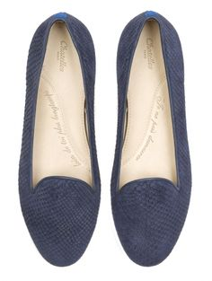 Chatelles Slippers Jules Navy blue fishscale patterned leather