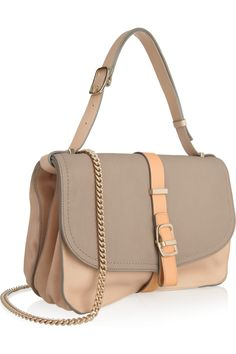 Victoria Beckham|Tri-tone leather shoulder bag|NET-A-PORTER.COM