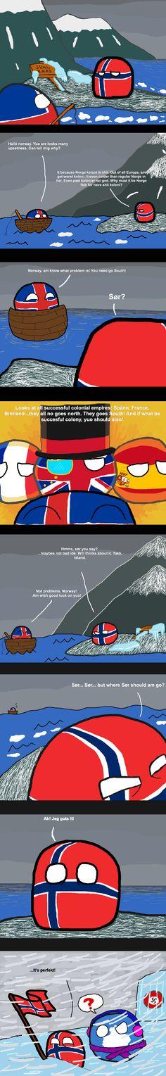 Norway's Colonies (Norway, Iceland, Antarctic) by La Tartifle  #polandball #countryball