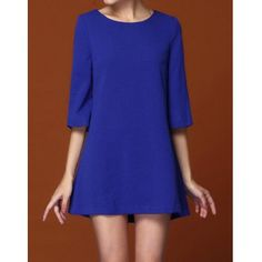 Elegant Round Collar Back Pleated 3/4 Sleeve Slimming Blue Women's Dress, BLUE, XL in Dresses 2014 | DressLily.com