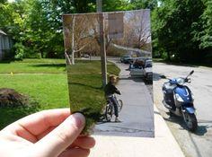 """""""Dear Photograph,"""" é um projeto que pede para as pessoas selecionarem uma foto especial e fazer uma nova fotografia no mesmo local na data atual, usando o retrato antigo.Fonte"""