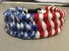 Red white and blue patriotic paracord bracelet