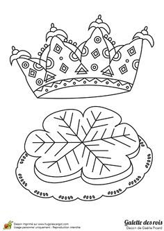 Coloriage de ce dessin d'une  fève et cette jolie couronne de la galette des rois pour le jour des rois.