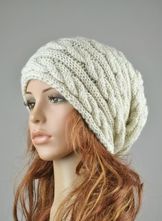 Hand knit hat  grey ivory color cable pattern hat by MaxMelody