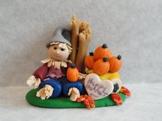 Happy Harvest Scarecrow by joannslogcabin on Etsy, $15.00