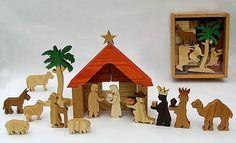 Hölzerne Krippe-Krippenserie für kreatives Spielen biblische Weihnachten Krippe fo spielen Kinder, jungen und Mädchen.