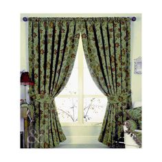 Floral Jacquard Pencil Pleat Curtains – Heavy Weight Green Curtain Pair | eBay