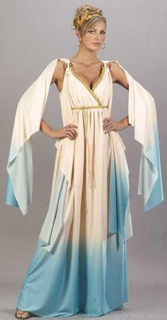 The Aqua Greek Goddess costume includes a long, blue and white, ombre' style gown with draped sleeves, gold rope trim, O-ring detail and matching gold leaf head piece. Toga Halloween Costume, Halloween Costumes For Teens, Adult Costumes, Halloween 2013, Halloween Ideas, Greek Goddess Dress, Greek Goddess Costume, Grecian Goddess, Roman Toga