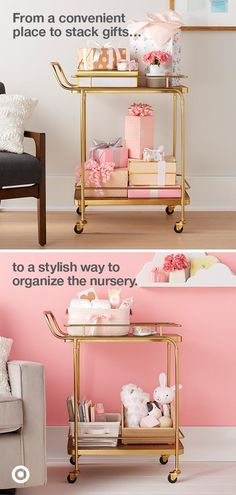 Gift from the hostess? A bar cart that works overtime—perfect for getting baby gifts home and organizing the nursery.