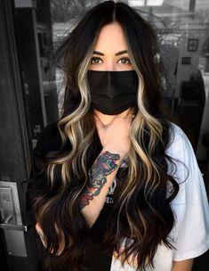 Black Hair With Highlights, Face Frame Highlights, Black Hair With Blonde Highlights, Black And Blonde, Beige Blonde, Brown Blonde Hair, Gorgeous Hair Color, Hair Colour, Long Dark Hair