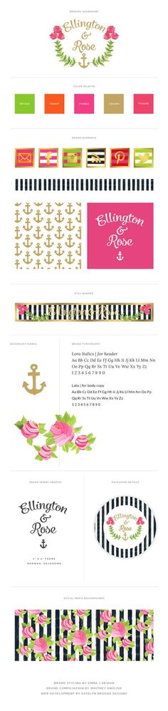 Ellington & Rose Brand Style Guide // Branding by Whitney English, Emily McCarthy, and Katelyn Brooke Designs Brand Identity Design, Branding Design, Rose Brand, Brand Style Guide, Whitney English, Packaging Design Inspiration, Blog Design, Grafik Design, Brand Packaging