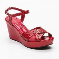 Pons Quintana platform wedge sandal in red