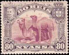 Nyassa - 80r black and lilac Camels  (Scott 34)