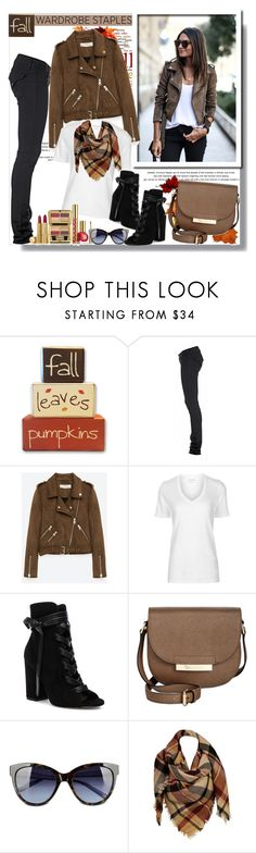 """Fall Wardrobe Staples""  Moto Jacket & Booties"" by teah507 ❤ liked on Polyvore featuring PAM, Hudson Jeans, Freebird, Étoile Isabel Marant, Gianvito Rossi, Estée Lauder, Calvin Klein, Love Moschino, Sylvia Alexander and motojacket"