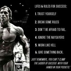 FITNESS: Lifes 6 Rules For Success Arnold Schwarzenegger > Success: you can't climb the ladder of success with your hands in your pockets.Arnold Schwarzenegger > Success: you can't climb the ladder of success with your hands in your pockets. Fitness Motivation, Fitness Quotes, Arnold Motivation, Exercise Motivation, Quotes Motivation, Bodybuilding Motivation Quotes, Lifting Motivation, Thursday Motivation, Diet Exercise