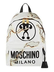 MOSCHINO Logo-print burnt-effect backpack