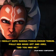 LOL YES! Except not Force Choke, that's Sith. More like just pulls off her hood and asks him.
