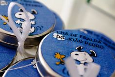 Chá de Fraldas - tema Snoopy - latinhas mint to be