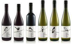 Modern wine labels using local species