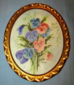 Gold Gilt Oval Vintage Picture Art Wood Frame Italy Flower Oil Painting Signed Oil Painting Flowers, Flower Paintings, Antique Picture Frames, Flower Oil, Oval Frame, Painted Signs, Vintage Pictures, Decorative Plates, Italy