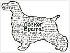 In Words Cocker Spaniel is an outline chart measuring 146 stitches wide by 111 stitches high and has been designed for you to use whatever colours