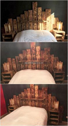 This is such a purposeful and best creation that is designed with the use of recycled wood pallets. This creation is all ranging into the taste of making the use of it as the bed headboard where the incorporative taste of the side tables have been equally infuse into it.