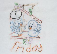 Love Birds Embroidered Flour Sack Dish Towels Handmade | Friday