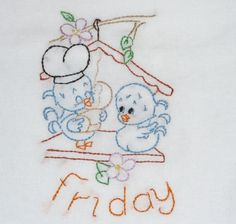 Love Birds Embroidered Flour Sack Dish Towels Handmade | Friday