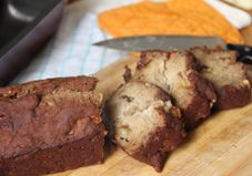 Vegan Banana Bread 1 1/2 C whole wheat flour (spelt or buckwheat) 1 t baking soda 1/4 t cinnamon 1/4 t nutmeg 1/8 t sea salt 1/2 C almond, rice, or soy milk 1/4 C canola oil 1/2 t vanilla extract 3 very ripe medium bananas, mashed 1/4 C dried apricots, chopped  Preheat 375. Mix dry. In separate bowl, mash bananas before adding rest of wet ingredients, include apricots. Stir til combined. Add wet to dry. Fold til combined. Pour into greased pan, cook 25 min, or til toothpick comes out clean