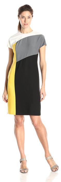 Anne Klein Women's Cap-Sleeve Color-Block Sheath Dress