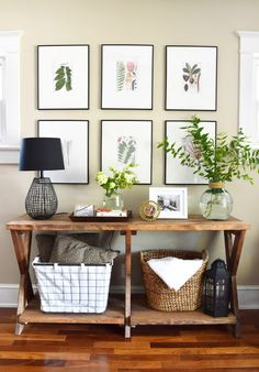 Beautiful neutral entry way with pops of greenery