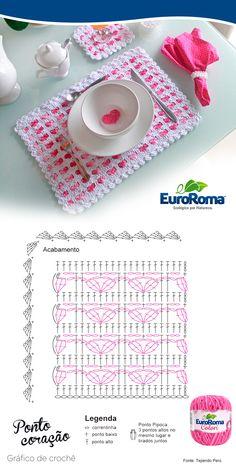 Jogo Americando ponto coração utilizando os barbantes EuroRoma Colori Pink e EuroRoma Branco.