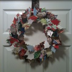 Wreath Made Out Of Greeting Cards. Cut Leaves From Old Christmas Cards  Using A Holly Leaf Stencil. Hot Glue Toothpicks To The Back, And Stick The  Leaves ...