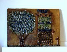 Stig Lindberg. Väggplatta/ relief. Kvinna och träd. signerad. 1 KR Stig Lindberg, Ceramics, Sweden, Design, Creativity, Ceramica, Pottery, Ceramic Art, Design Comics