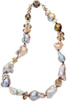 MULTISTRAND PEARL NECKLACE with Stunning 14 K Gold Filled Circular ClaspHandcrafted Long Three Strand Bohemian Handmade =