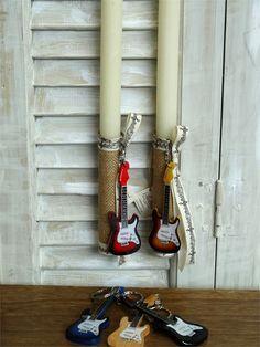 Χειροποίητη πασχαλινή λαμπάδα με ξύλινη κιθάρα μπρελόκ για αγόρια, annassecret Ladder Decor, Easter, Home Decor, Light Bulb Vase, Decoration Home, Room Decor, Easter Activities, Interior Decorating