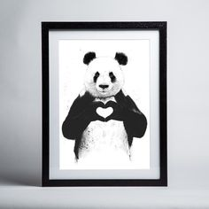 """Amanti Art Inch x Inch """"All You Need Is Love (Panda)"""" F Home Decor Wall Decor Paintings and Prints Framed Art Prints, Fine Art Prints, Poster Prints, Poster Wall, Panda Art, Love Frames, Love Posters, Art Graphique, Art And Technology"""