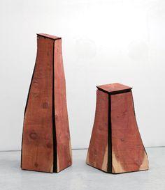 David Nash | Kukje Gallery Two Cut Corner Columns 2011 redwood 2 parts: 1) 240 x 69 x 76 cm; 2) 153 x 88 x 86 cm