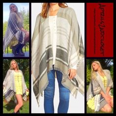 "Boho Blanket Wrap Coat Poncho Oversized Boyfriend RETAIL PRICE: $68  NEW WITH TAGS  Boho Blanket Wrap Poncho M * An incredibly soft knit construction  * Allover rustic plaid print w/delicate fringe.  * Cozy fabric & a draped fit.  * About 25"" at the shortest X 55"" length; One size fits most. ***Reversible w/a different print on each side.  Fabric: 100% acrylic  Color: Multi Item:  No Trades ✅ Offers Considered*/Bundle Discounts✅ *Please use the 'offer' button to submit an offer. Nordstrom…"