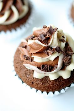 Mudslide Cupcakes  Servings: approximately 20 cupcakes     Ingredients  For the cupcakes:  3 eggs, separated and at room temperature  3/4 cup granulated sugar  1/2 cup (1 stick) unsalted butter, room temperature  1 cup light brown sugar, packed  2 and 1/4 cups all-purpose flour  1/2 cup unsweetened cocoa powder  1 and 1/2 teaspoons baking soda  3/4 cup strong cold coffee  3/4 cup Kahlua