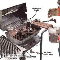 Want to fire up the grill this Labor Day but your grill isn't in the best shape? here's Family Handyman's step-by-step instructions for how to fix up your gas grill so you can join i (Patio Step The Family Handyman) Clean Grill, Bbq Grill, Grilling, Grill Cleaning, Barbecue Pit, Cleaning Tips, Best Portable Grill, Patio Steps, Diy Patio