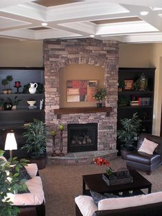 Fireplace with Hearth, TV Space and Mantel plus built-ins on either side...Nice! {Urban Street Homes Paraade Home}