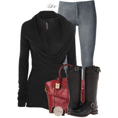 """""""Pop of Red"""" by tmlstyle on Polyvore"""