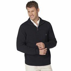 Chaps Solid 1/4-Zip Mockneck Sweater